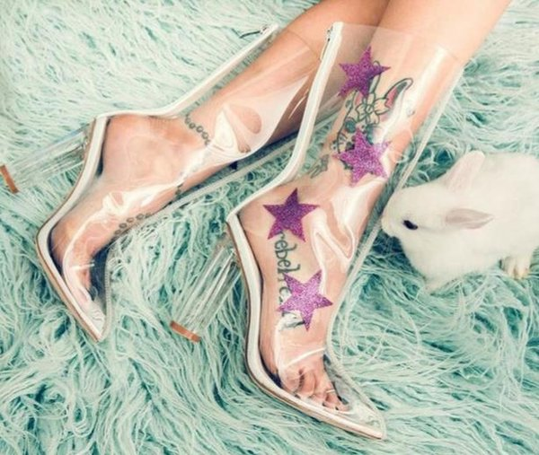 Newest Spring Autumn Clear PVC Star Ankle Boots Women Pointed Toe Transparent Short Boots Sexy Chunky Heel Boots Block Heels Woman Shoes