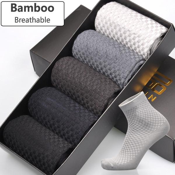 Al por mayor-Calcetines de fibra de bambú de los hombres a estrenar Business Casual Anti-Bacterial Desodorante Hombre respirable Long Sock 5 par / lote