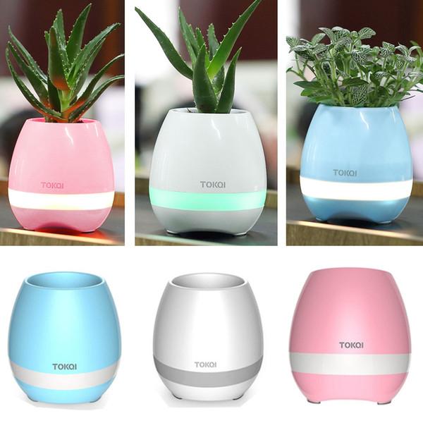 Lámpara de planta de música CRESTECH Bluetooth macetas de alta fidelidad sin hilos de la lámpara de la maceta luces de la noche puede plantar flores ar su hogar