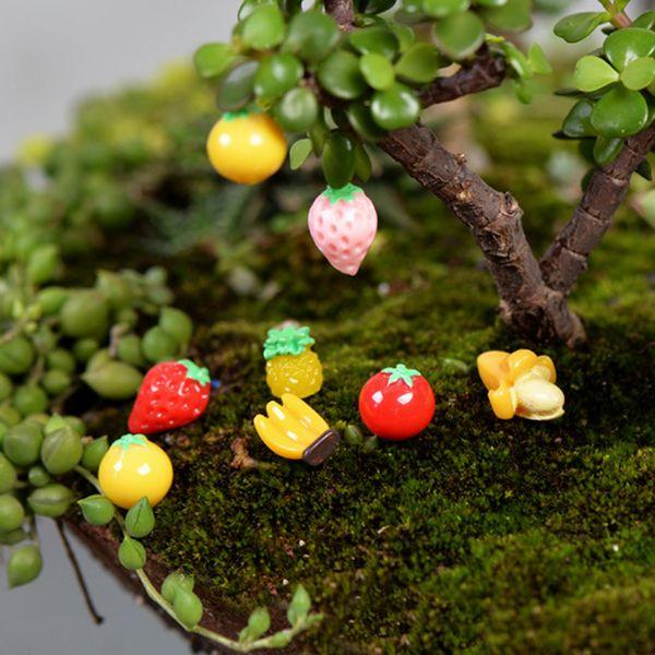 10pcs Cartoon Fruit Banana Plastic PVC Fairy Garden Miniatures Bonsai Tools Terrarium Dollhouse Ornament Zakka Jardin Gnome Home Accessories