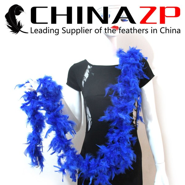 Gold Supplier CHINAZP Crafts Factory 2yards/lot 40G Dyed Royal Blue Chandelle Feather Boas for Party Dresses
