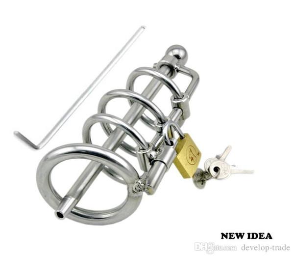 Sex Toy Nueva Bondage de acero inoxidable masculina dispositivos de castidad simples Gay Fetish Adult Products A061