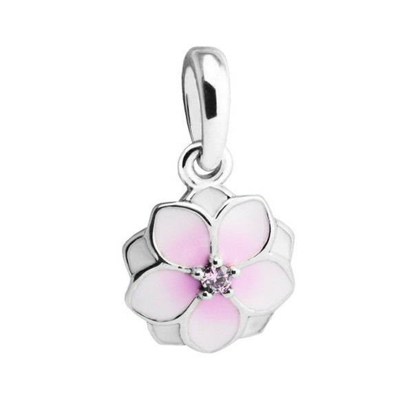 Dangle Magnolia Bloom Enamel Pale Pink CZ 2017 Spring 100% 925 Sterling Silver Beads Fit Pandora Bracelet Authentic DIY Fashion Jewelry