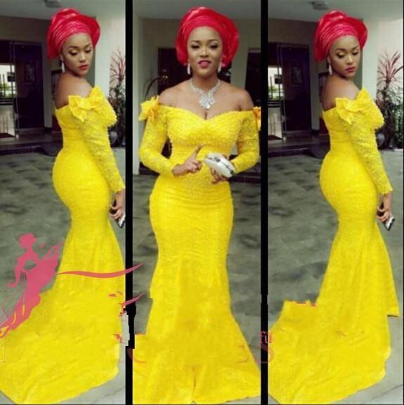 Charme Sereia Vestidos de Baile Nigéria Aso Ebi Estilos de Moda de Luxo Árabe Off-Ombro Plus Size Amarelo Partido Mãe Vestidos