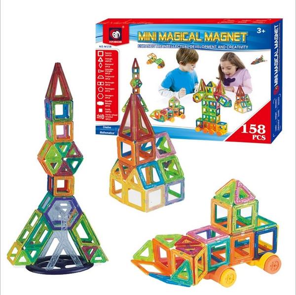 Magnetic Building Puzzle Blocks Rainbow colors Magnet Toys Popular Kids Toys Children Vehicle Rocket Building Model set 158 pcs EC-071