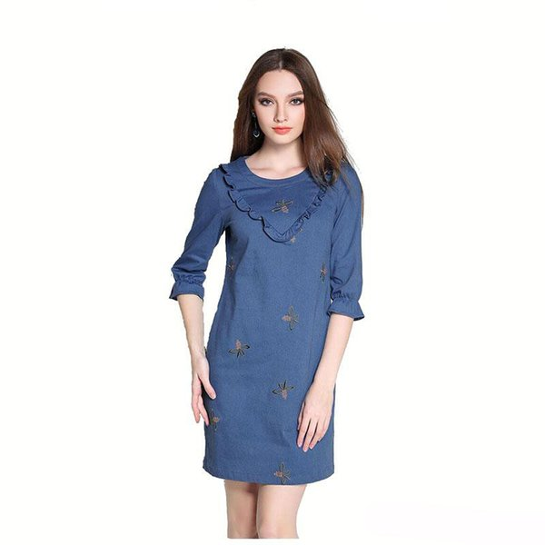 Printed Floral Denim Women Dress Sexy Slim Casual Women Mini Plus Size Dress Fashion Spring Lady Dresses Free Shipping