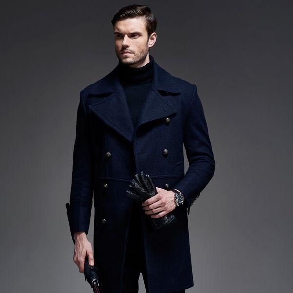 top popular Wholesale- 2016 Winter New Long Men Peacoat Coat Turn Down Collar Black Dark Blue Colors Winter Wool Coat Men 2021