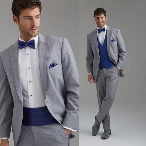 Three Pieces Light Gray Wedding Mens Suits Custom Made Handsome Groom Tuxedos Prom Dress Suits (Jacket+Pants+Vest+Girdle+Bow Tie)