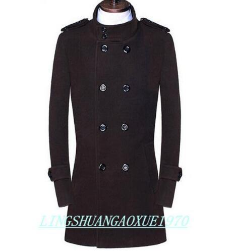 Preto marrom adolescente trespassado casaco de lã dos homens 2017 trincheira casacos mens casacos de lã casacos vestido de inverno plus size S-9XL