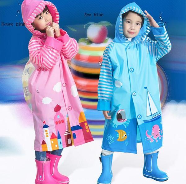 50pcs Children Raincoat 2016 New Cartoon Girl Boy Kids Students Bicycle Poncho Rain Coat Waterproof Rainwear For Outdoor