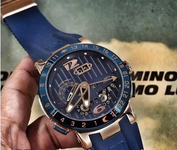 Luxury Mens Mechanical Watches Stainless UN El Toro Perpetual Calendar GMT MULTI-FUNCTIONS Blue Dial Rubber Fashion Mens Business Wristwatch