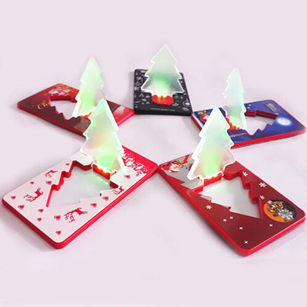 Portable LED arbre de Noël pliable Pocket carte de crédit Night Light lampe de table Noël cadeaux Ornement Adorno Portefeuille Lumière Nouveauté Lumière