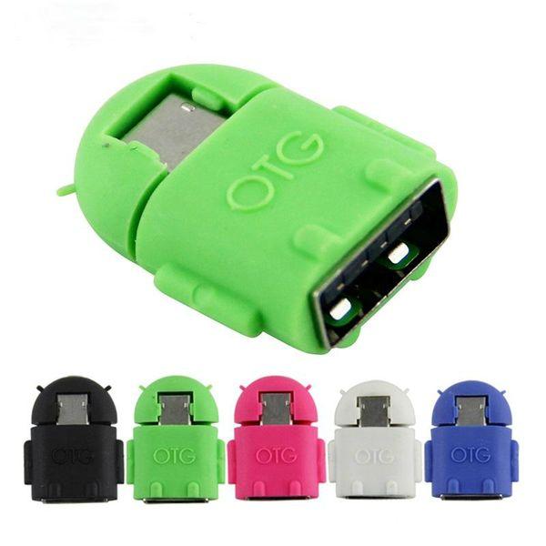 500pcs Micro USB zu USB OTG Adapter Android Roboter Form OTG Adapter Handy Verbinden Sie mit USB Flash / Maus / Tastatur Universal