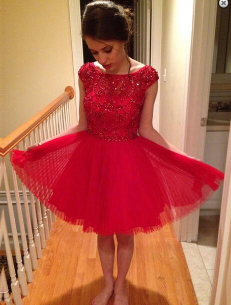 girl New Designer Short mini jewel Beaded Pleat Homecoming Dress Popular Bridesmaid evening dress red sex party dress Prom gown