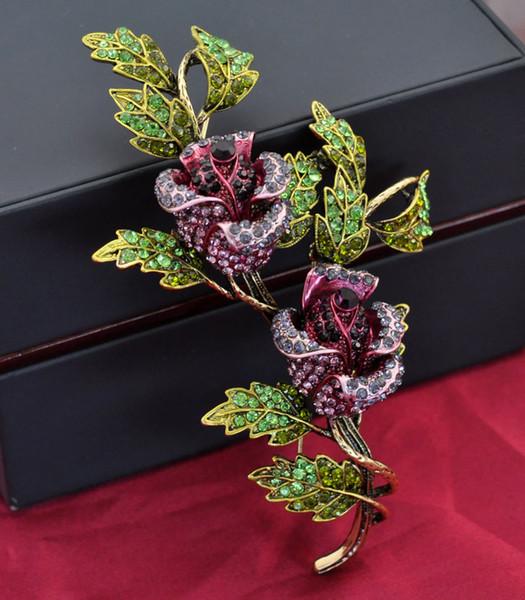 110x70mm Wunderschöne große Vintage Strass Diamante Blume Rose Brosche
