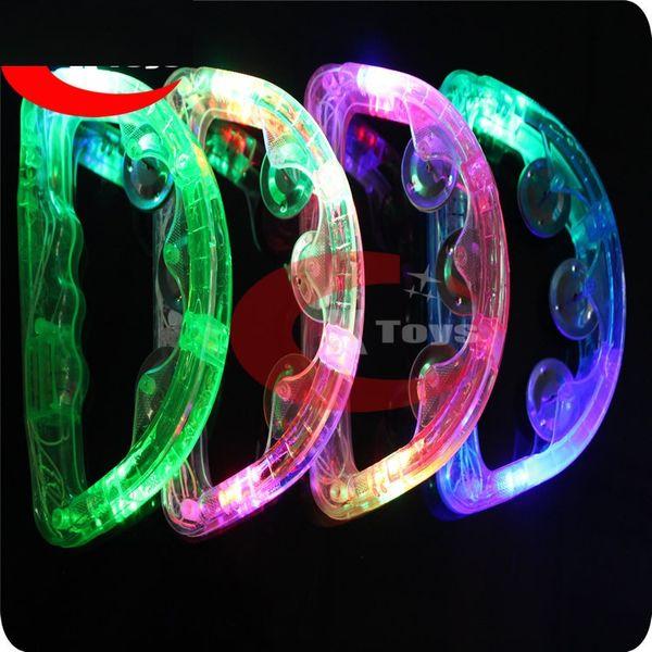 50 pcs En Gros LED clignotant Tambourin Partie Fournisseur illuminer Tambourin De Vacances KTV Tambourin Livraison Gratuite wa2985