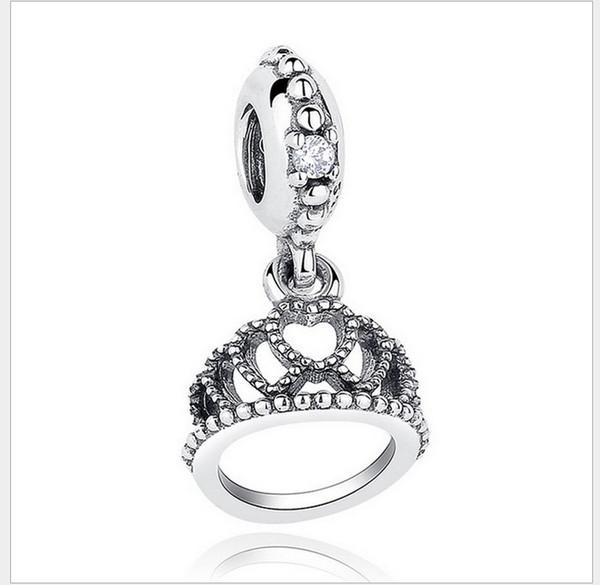 6d441e855 Fits Pandora Bracelets 30pcs Queen Crown Dangle Silver Charm Bead Loose  Beads For Chamilia Wholesale Diy European Sterling Necklace Jewelry
