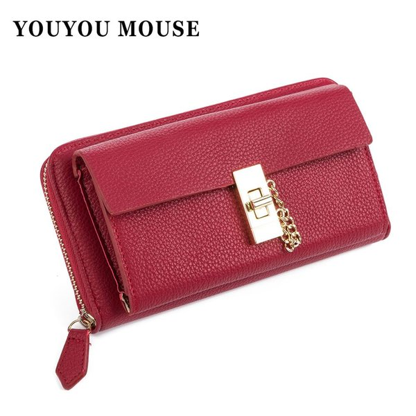 Hot New Fashion Women Wallet European And American Style Women Purse Lychee Embossed Zipper Lock Clutch Cion Pocket Card Holder