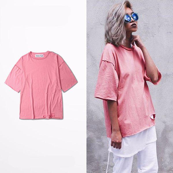 Kanye West Rosa Oversize T-shirt Dos Homens e Mulheres Justin Bieber Esmagar Ganhos Medo de deus T camisa Hip Hop Buracos Senhora Tee