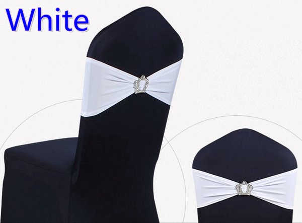 White colour Crown buckle lycra sash for wedding chairs decoration spandex band stretch bow tie lycra ribbon belt on sale