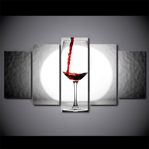 5 Pcs/Set Framed HD Printed Wine Glass Light Home Wall Decor Poster Canvas Art Painting Wall Pictures Modular Painting