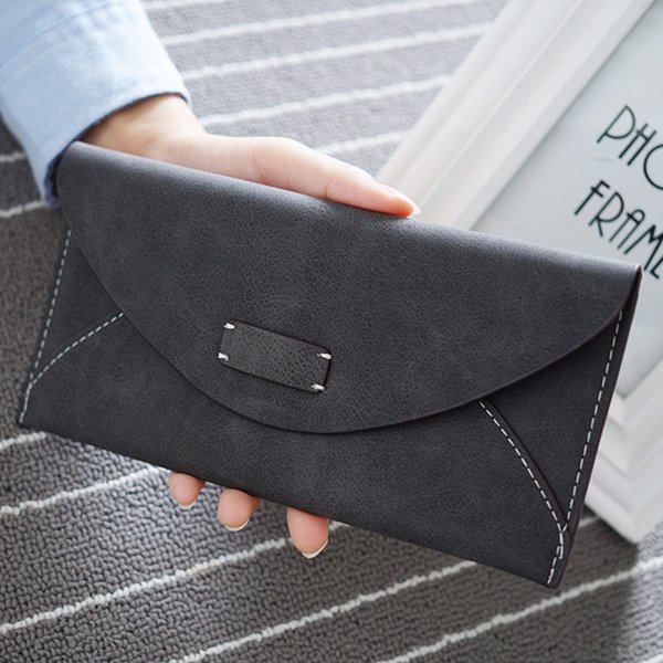 Wholesale- Hot fashion big capacity women wallets girls casual long clutch cell phone hasp wallet student retro  holder purse