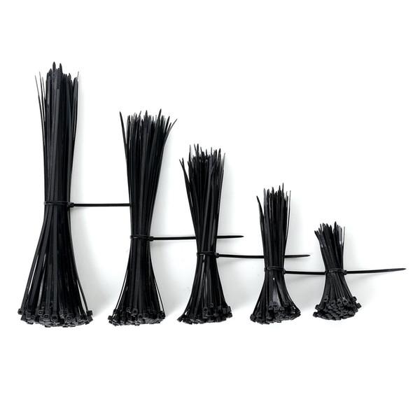 top popular Self-locking Nylon Cable Ties Zip Ties Fasten Assorted Plastic Zip Wire Tie-Wrap Strap in Black 4'' 6'' 8'' 10'' 12'' 2021