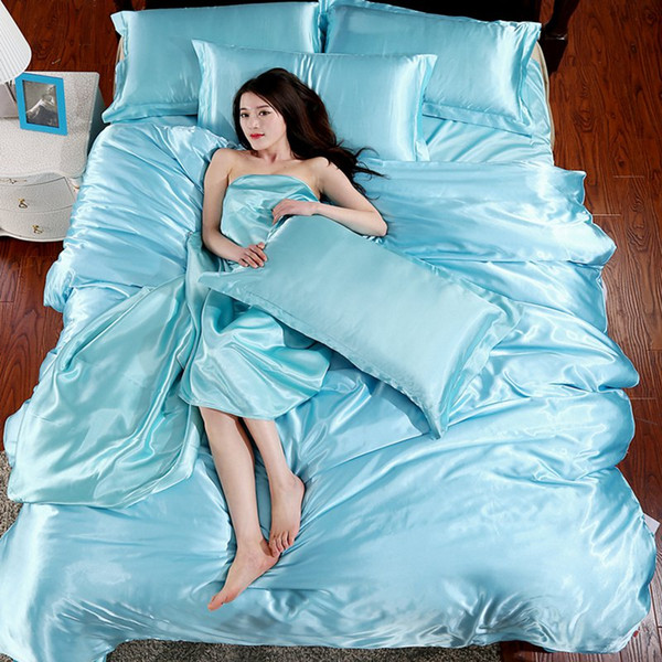 Wholesale- 2016 HOT Pure Satin Silk Bedding Set Bedclothes Comforter Bedding Sets Duvet Cover Flat Sheet Pillowcase Super King Queen