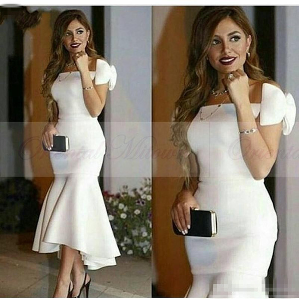 New Arrival 2017 Hi Low Arabic Women Formal Evening Dresses Off Shoulder Mermaid Plus Size White Satin Cap Sleeves Prom Party Gowns Custom
