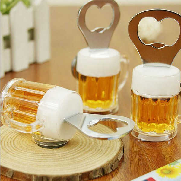 Creative Beer Cup Mug Shape Fridge Magnets Bottle Opener Magnetic Stickers Party Birthday Gift Favor Free Shipping
