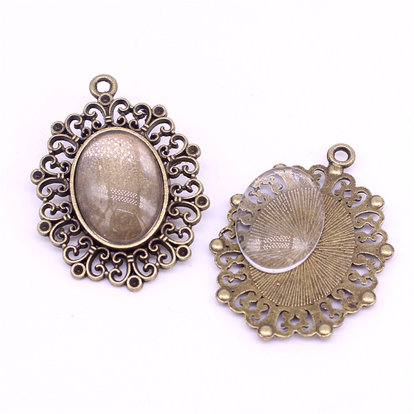 6 set vintage bronze oval filigree cameo cabochon Fit 18*25mm dia Cabochon Pendant Settings + Clear Glass Cabochons C0018-1