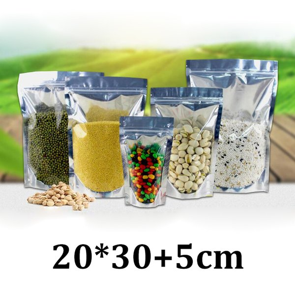 20x30cm one side clear plastic resealable ziplock stand up silver aluminum foil coffee baby fast food packaging bag