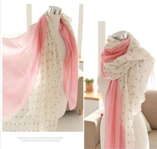 Wholesale- Helisopus Fashion Pink Women Long Cotton Scarf Wrap Dot Printing Ladies Shawl Large Silk Scarves