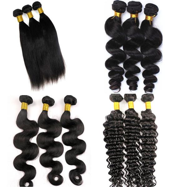 Virgin hair weave brazilian human hair bundle weft 100 unproce ed peruvian indian malay ian cambodian weaving human hair exten ion, Black
