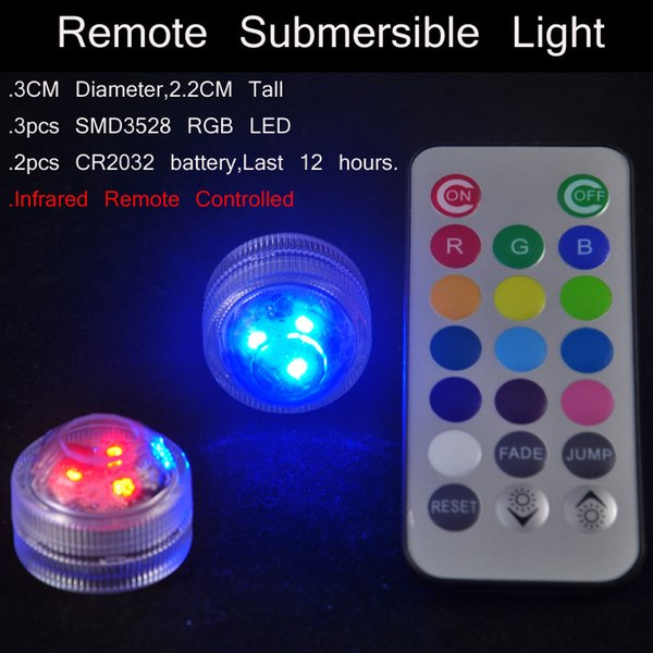 HOT Waterproof lamp Colorful LED candle Remote control lights Party Decoration Candle Wedding Party Indoor Lighting for fish tank pond