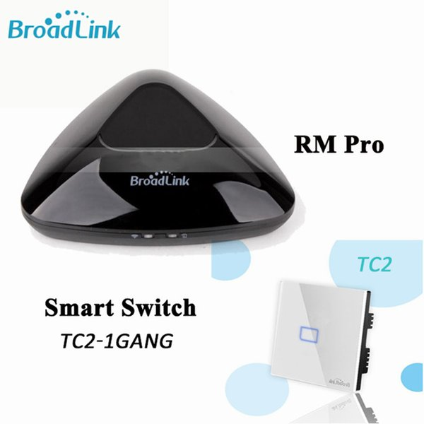 Wholesale-Broadlink RM PRO Universal Intelligent Remote WIFI+ IR+ RF Controller+TC2 1 Gang ON/OFF Touch Screen WiFi Light Switch SmartHome