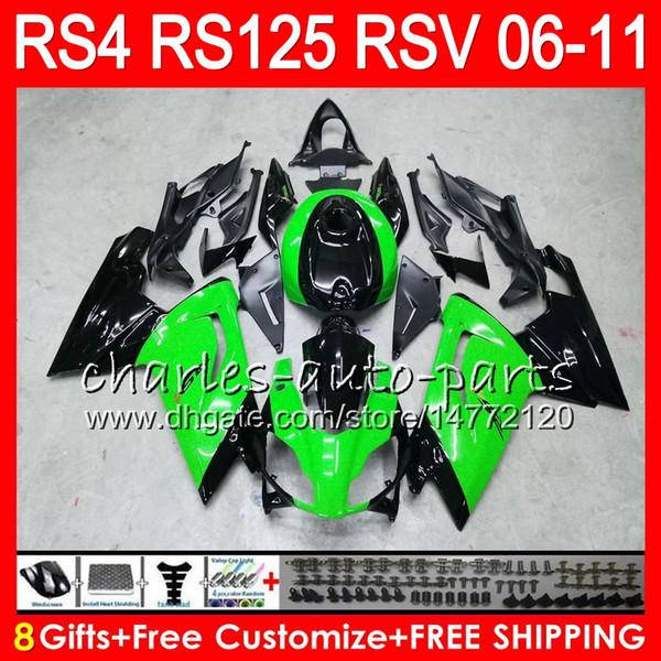 Body For Aprilia RS4 RSV125 RS125 06 07 08 09 10 11 RS125R RS-125 Green black 70NO24 RSV 125 RS 125 2006 2007 2008 2009 2010 2011 Fairing