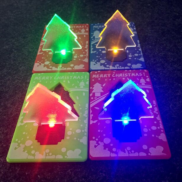 HOT LED Christmas Tree Portable Folding Pocket Credit Card Night Light Table Lamp Xmas Gifts Ornament Adornment Wallet Light Novelty Light