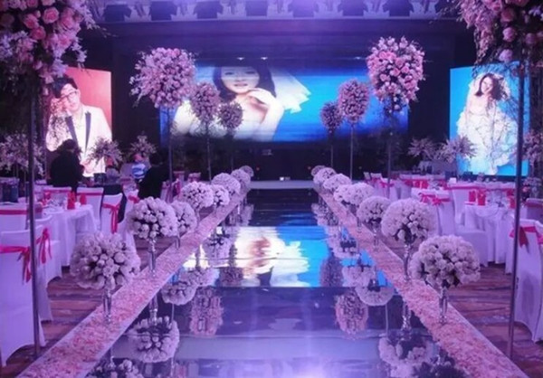 New Arrival 1m / 1.2m Wide Shiny Wedding Centerpieces Decor Runner Aisle Silver / Gold Plastic Mirror Carpet Free Shipping MYY