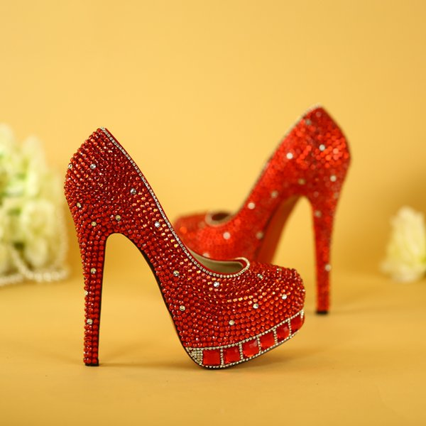 100% Handmade Wedding Shoes Women's High Heels shoes rhinestone bride shoes Woman Platform Party Shoe pumps