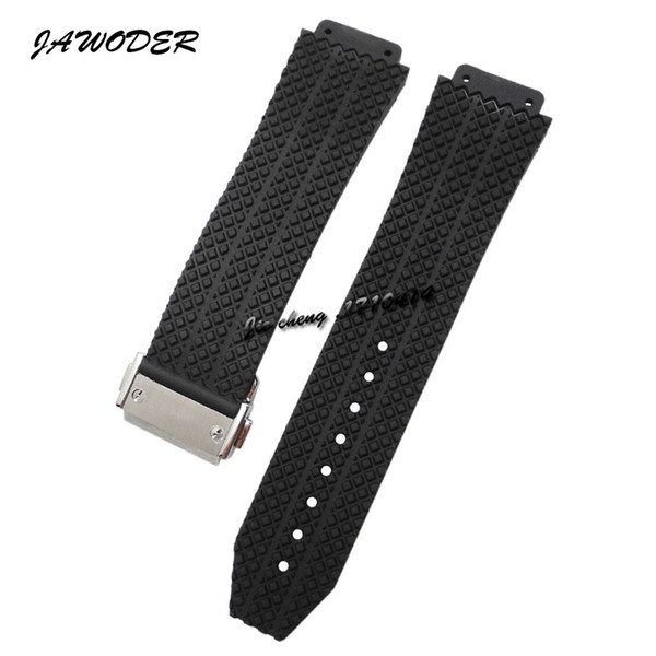 top popular JAWODER Watchband 24mm 25mm Men women Stainless Steel Buckle Clacp Black Diving Silicone Rubber Watch Band Strap for Big Bang 2020