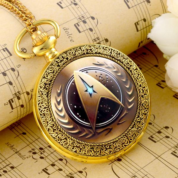 Al por mayor-alta calidad Vintage Golden Star Trek reloj de bolsillo Steampunk Fon colgante Wmen hombres collar de regalo