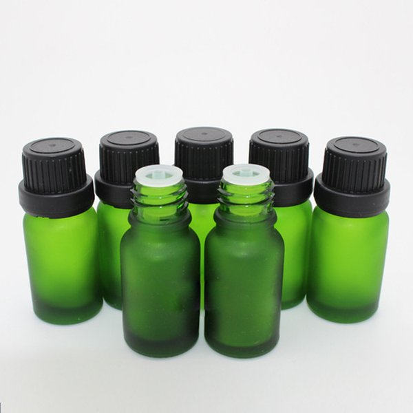 768Pcs/Carton 10ml Green Glass Dropper Bottles Frosted Eliquid Bottles 10CC with Big Head Tamper Lids for Aromatherapy Perfume