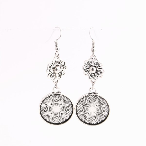 best selling SWEET BELL 12pcs lot Metal Alloy Zinc Flower Charm Fit round 20mm Cabochon Set Pendant Drop Earing Jewelry Making C0825