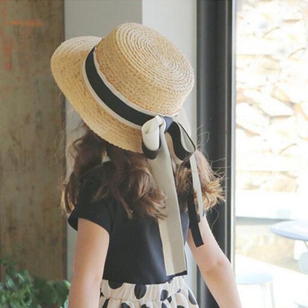 Baby Girl Straw Sun Chapéus Cáqui Sunhats Para As Crianças De Praia De Aba Larga Chapéu Crianças Viseiras Bonés Frete Grátis