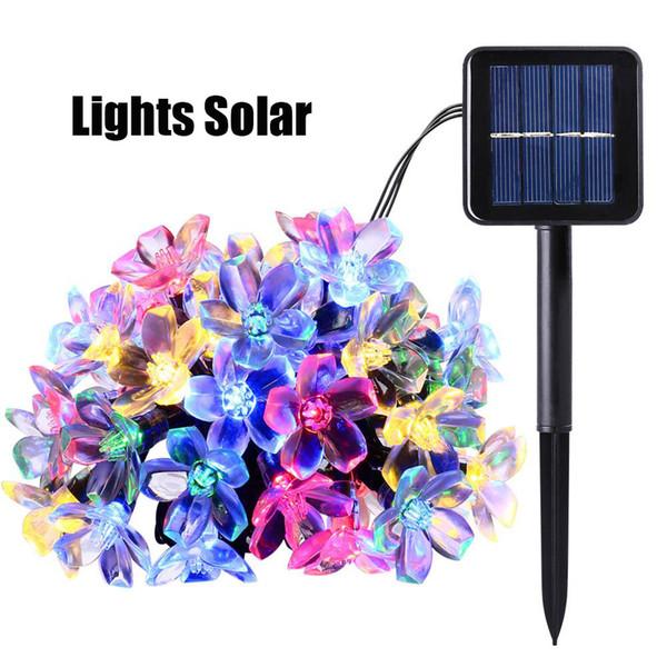 2017 Nouveau 50 LEDS 7 M Pêche Ledertek Fleur Lampe Solaire Puissance LED Cordes Guirlandes Solar Guirlandes Jardin Décor De Noël Pour Extérieur