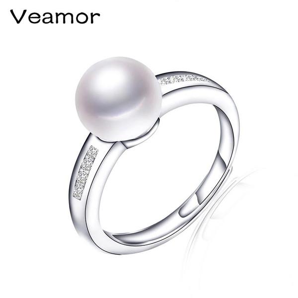 Оптовое кольцо стерлингового серебра 925 стерлингового кольца открытого типа 100% натуральное пресноводное реальное, обручальное кольцо для женщин R027