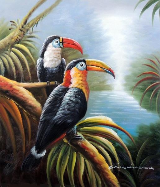 Çerçeveli Toucan Kuş Çifti Tropikal Orman Ağacı Avian Sanat, El-boyalı Kuş Hayvan Sanat yağlıboya Tuval, Çok boyutları Ücretsiz Kargo J021