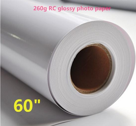 """60""""*30m wide format Glossy Finish 260gsm RC Photo Paper rolls"""