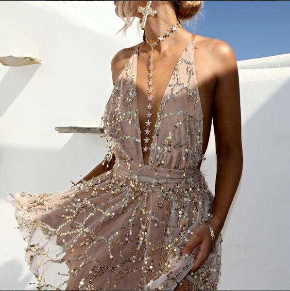 2017 Nuove donne sexy backless paillettes mini dress party Arrivi Estate scollo a V nero oro Halter clubwear prendisole paillettes fabbrica